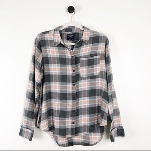 Abercrombie & Fitch Plaid Flannel Shirt Pink Grey